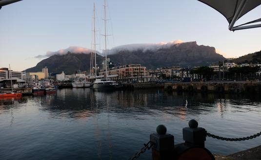 Cape Town Harbor and Table Mountain