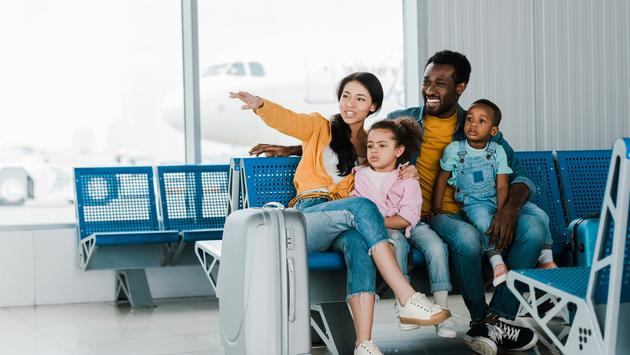 Black Family at the airport