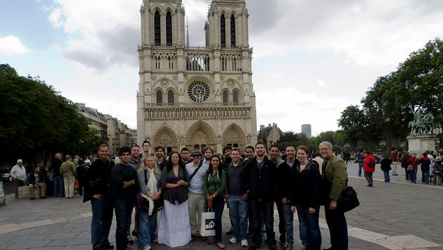 A group of students studying abroad in Paris