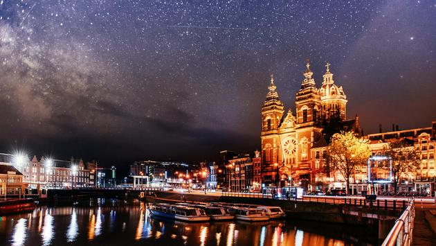 Beautiful night in Amsterdam, Netherlands