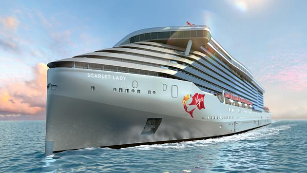 Virgin Voyages' Scarlet Lady rendering