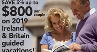 5% up to $800 per couple on 2019 guided vacations