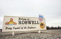Welcome sign in Roswell, New Mexico