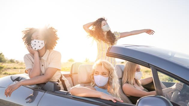 Group of young women taking a pandemic-era road trip.