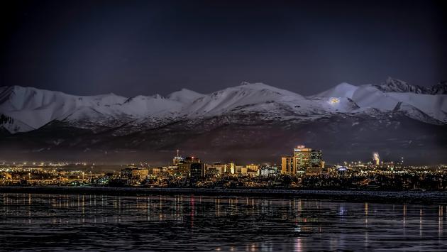 Anchorage, Alaska at night