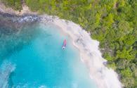 Aerial of a beach in Grenada