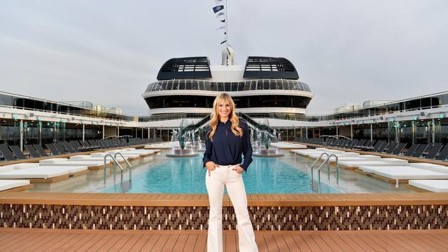 Actress, model and singer, Michelle Hunziker, hosted the MSC Grandiosa's christening ceremony.