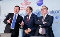 Rob Gurney, Abdelhamid Addou, Alan Joyce celebrate the announcement of Royal Air Maroc joining Oneworld
