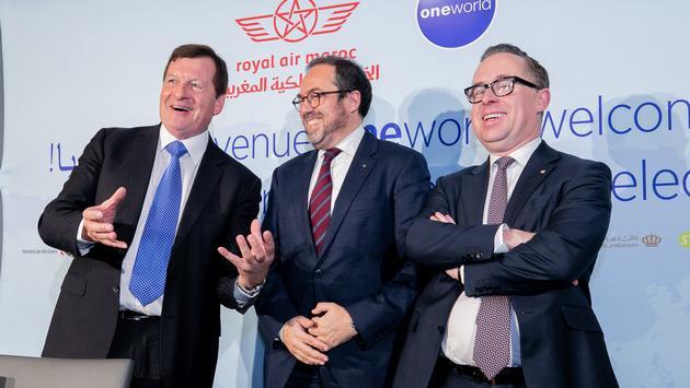Rob Gurney, Abdelhamid Addou, Alan Joyce celebrate the announcement of Royal Air Maroc joining Oneworld