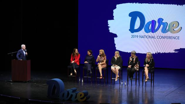David Crooks, Michelle Sutter, Camille Olivere, Vicki Freed, Janet Wygert, Elena Rodriguez and Lori Sheller at the Cruises Inc., CruiseOne and Dream Vacations 2019 National Conference.