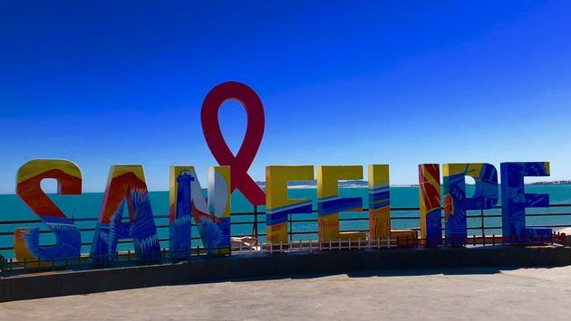 Like most Mexican coastal towns, San Felipe has a Malecon—a walkable waterfront with a large colorful sign. (photo by Noreen Kompanik)