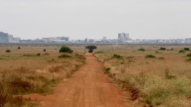 Nairobi, Kenya skyline from a dusty road