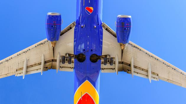 Southwest Airlines plane landing at Las Vegas' McCarran International Airport