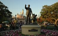 The famed statue of Walt Disney and MIckey Mouse at Disneyland