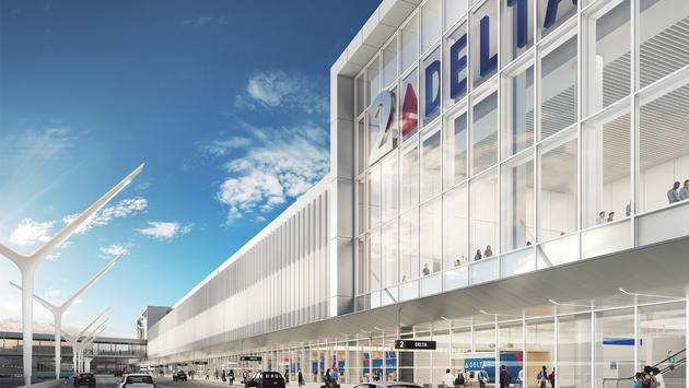 A rendering of the new Delta Sky Way at LAX project, which begins construction this fall.