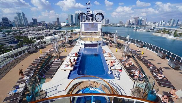 The Miami Beach Pool and Sun Deck on MSC Cruises' MSC Seaside docked in Miami, Florida