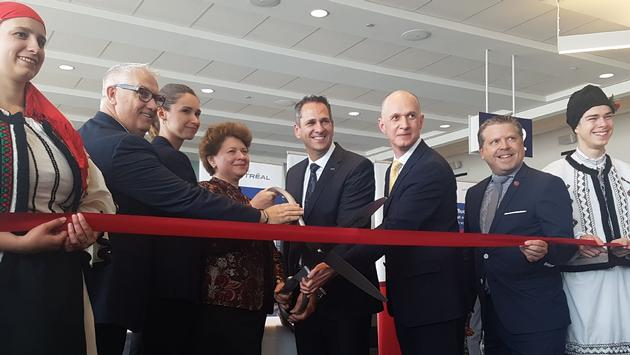 Duncan Bureau is joined by several dignitaries at the inaugural for Air Canada Rouge's Montreal to Bucharest service.