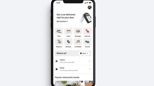 Uber Rent Service phone app