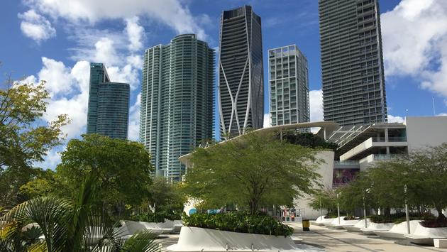 Downtown Miami viewed from Maurice A. Ferre Park