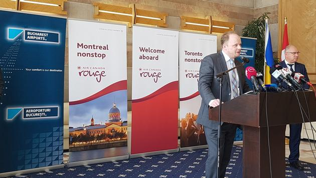 Canadian Ambassador to Romania, Kevin Hamilton, addresses the Romanian media.