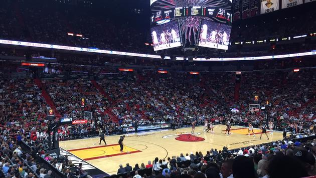 An NBA game inside American Airlines Arena in Downtown Miami