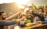 A group of friends at a vineyard