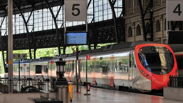 Train coming to halt in station in Barcelona
