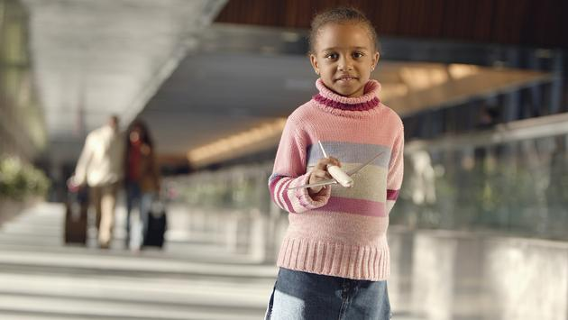 Young girl in an airport