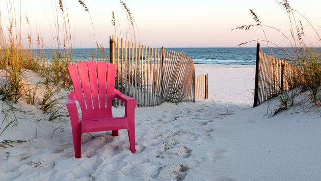 Beach chair leading to beach