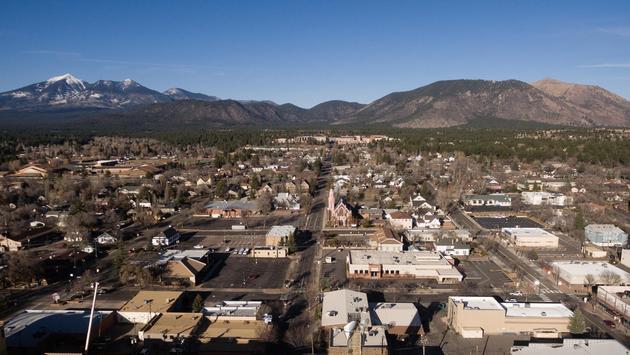 Flagstaff Arizona Town Skyline Aerial View Humphrey's Peak