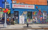 Vibrant street art is displayed on Billymark's West Restaurant in Manhattan, New York