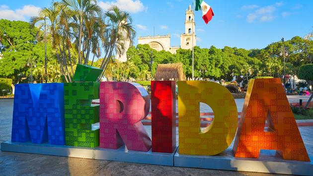 Sign in the historic Yucatán State capital city of Mérida, Mexico.