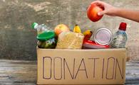 food, donations, box of donations