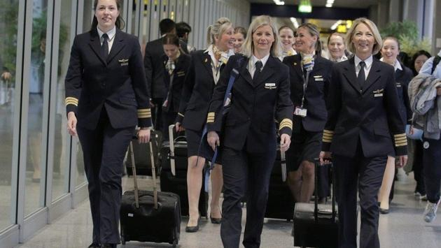 Thomas Cook Airlines' all-female crew for International Women's Day 2018