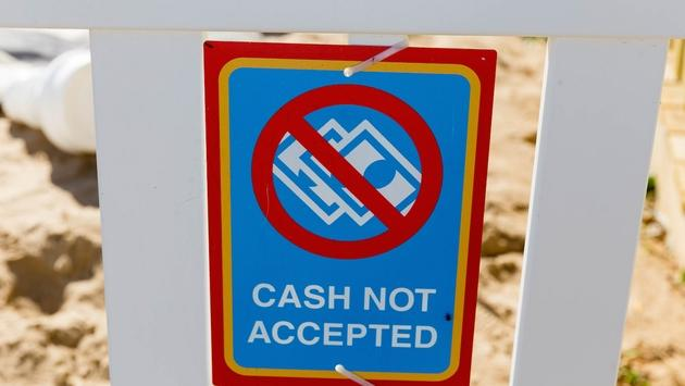 Cash Not Accepted sign