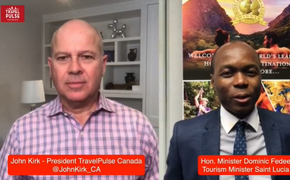 John Kirk of TravelPulse Canada and Saint Lucia Tourism Minister Dominic Fedee