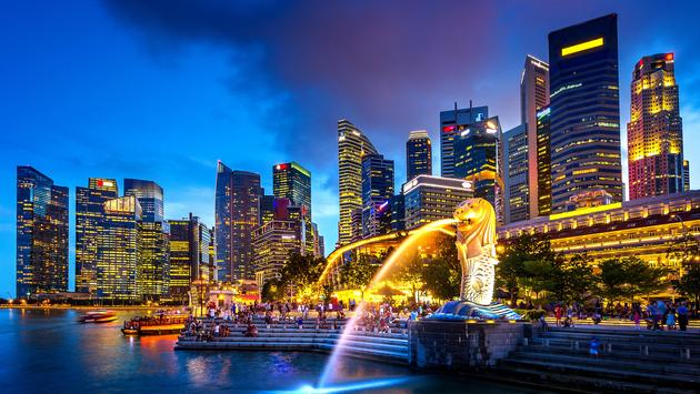 Singapore skyline at night, in Asia