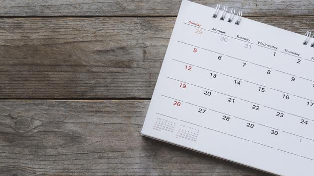 Closeup of a calendar