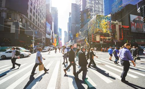 Pedestrians crossing the street in Manhattan, New York City