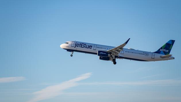 A JetBlue flight taking off from LAX