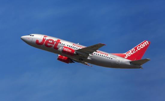 Jet2 Boeing 737-300 taking off from El Prat Airport in Barcelona, Spain