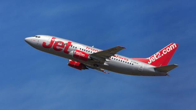 Jet2 Boeing 737-300 taking off from El Prat Airport in Barcelona, Spain