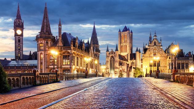 Ghent, Belgium during night