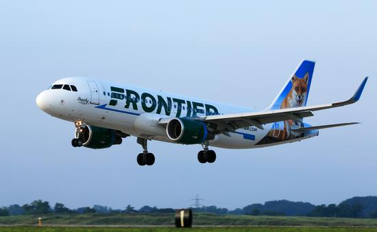 Frontier Airlines Airbus A320 landing at Cleveland Hopkins International Airport