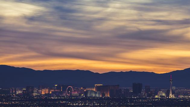 The Las Vegas Strip lit up at sunset