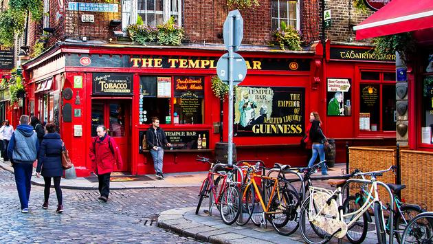 Street scene in Dublin, Ireland. Temple Bar historic district (Photo via kefirm / iStock Editorial / Getty Images Plus)