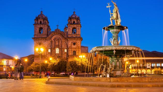 Fountain located in the Plaza de Armas in Cusco, Peru