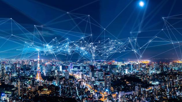Smart city wi-fi and internet connectivity concept