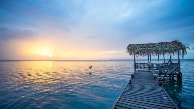 Sunset at dock in Belize