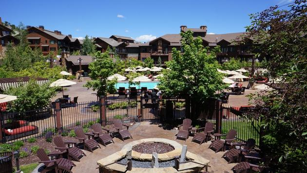 Pool area with cabanas at Waldorf Astoria Park City